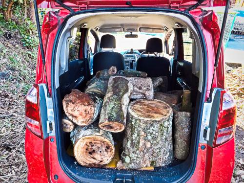 重い木を普通乗用車で運ぶ