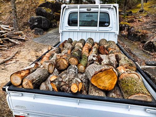 軽トラックに山積みの木