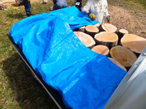 軽トラックに積み込んだ玉切りした木